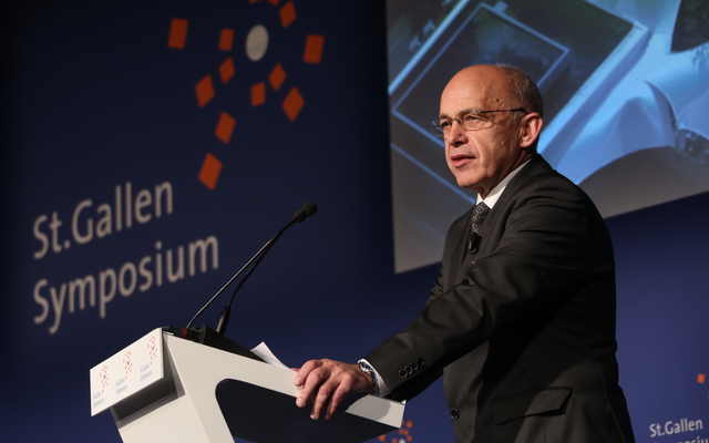 Ueli Maurer delivering the opening speech in May 2012 at the 42. St. Gallen Symposium at the University of St. Gallen (photo credit: CC-BY-SA,International Students' Committee, Wikimedia Commons)