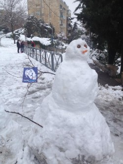 A snowman comes out in favor of the Hatnua party, Jerusalem, Thursday (photo credit: via Facebook)
