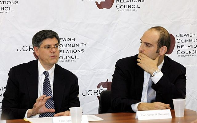 "White House Chief of Staff Jacob ""Jack"" Lew, left, and Jarrod Bernstein, White House Director of Jewish Outreach, speak to the media at the offices of the Jewish Community Relations Council of New York, Friday, Feb. 17, 2012 (photo credit: AP/Jewish Community Relations Council, David Karp)"