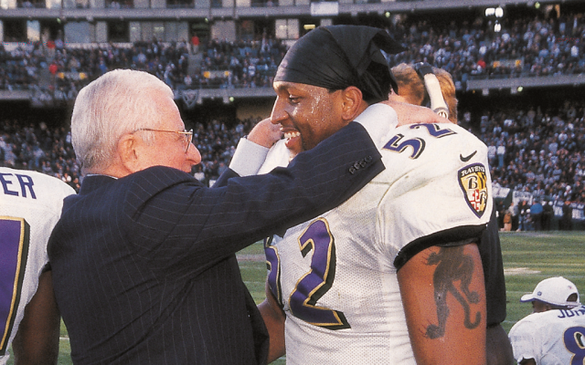 Art Modell, the late owner of the Baltimore Ravens, embraces star linebacker Ray Lewis in 2001. (photo credit: Courtesy of the Baltimore Ravens via JTA)
