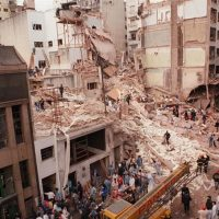 The Buenos Aires AMIA Jewish center after it was attacked, July 1994. (Cambalachero/ Wikimedia Commons)