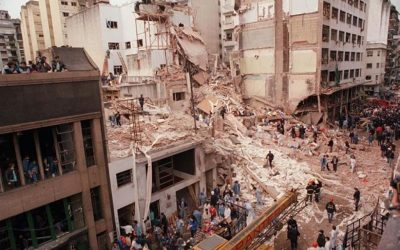 The Buenos Aires AMIA Jewish center after it was attacked, July 1994 (Cambalachero/Wikimedia commons)