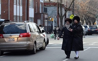 Illustrative photo of Hasidic men walking in Brooklyn. (Gedalya Gottdenger/Creative Commons/JTA)