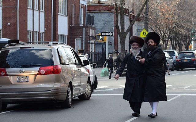 Illustrative photo of Hasidic men walking in Brooklyn. (Gedalya Gottdenger/Creative Commons/JTA)