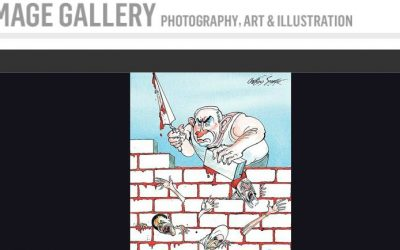 Sunday Times cartoon depicting Prime Minister Benjamin Netanyahu building a wall over Palestinians using blood for mortar (screenshot: The Sunday Times.co.uk)
