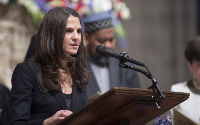 Rabbi Sharon Brous of the IKAR congregation in Los Angeles reads Prayers for the People at the presidential inaugural service. (Donovan Marks/Washington National Cathedral via JTA)