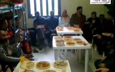 Palestinian security prisoners hold an engagement party in prison. (screen capture: Youtube/HakolHayehudi)