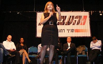 Nadia Hilou at a campaign event in January (photo credit: Labor/Courtesy)