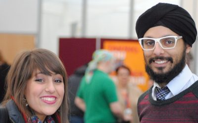 Limmud Conference presenter Param Singh (right), co-founder of City Sikhs Network; and Debbie Danon of the Three Faiths Forum, an interfaith education program (photo credit: courtesy/Oliver Marcus)