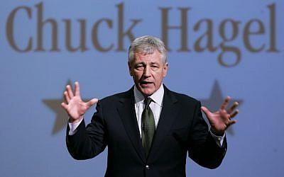 In this Feb. 21, 2007, file photo, then-Sen. Chuck Hagel, R-Neb., speaks during an appearance at Bellevue University, in Bellevue, Neb. In January 2013 Hagel was slated to be the next US Secretary of Defense. (photo credit: AP/Nati Harnik)