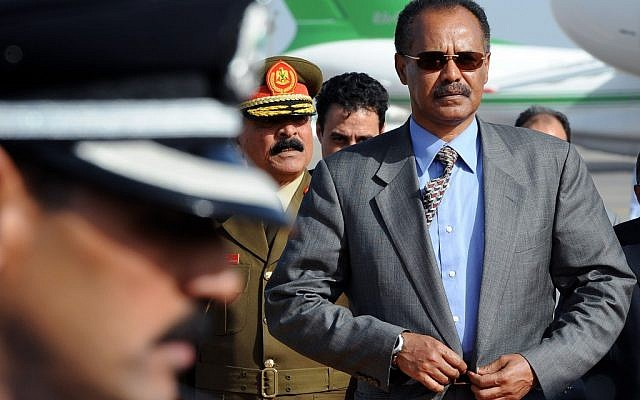 In this Sunday, Nov. 28, 2010 file photo, Eritrea's President Isaias Afworki arrives for an African Union summit at Mitiga Airport in Tripoli, Libya (photo credit: Geert Vanden Wijngaert/ AP)