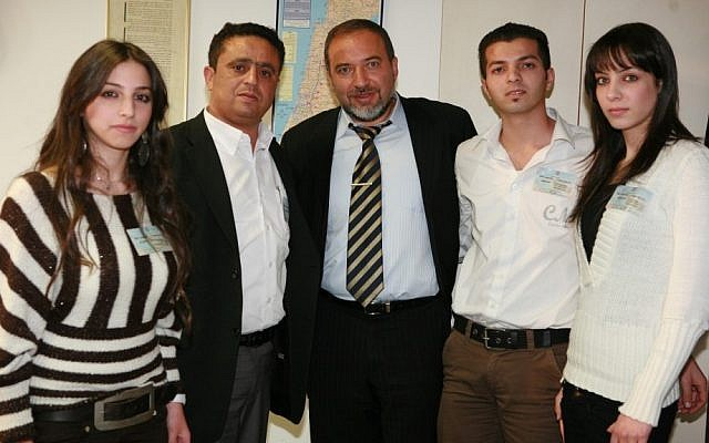 Avigdor Liberman meets with Arab-Israelis who want to join the Israeli National service on Monday, December 25, 2007, in the Knesset. (photo credit: Maya Levin/Flash90)