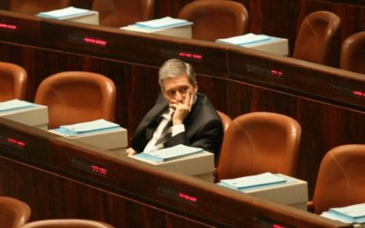 Former Meretz chief Yossi Beilin at his Knesset farewell session, November 3, 2008 (photo credit: Yossi Zamir/Flash 90)
