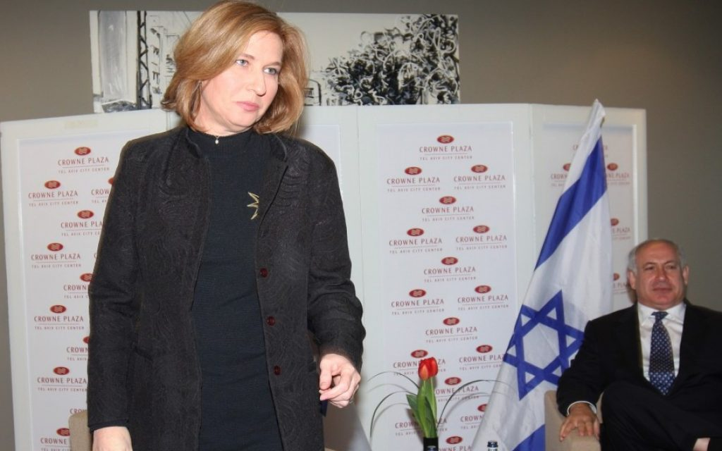 Tzipi Livni and Benjamin Netanyahu meet in Tel Aviv in an abortive effort to build a governing partnership after the last elections. (Photo credit: Roni Schutzer/Flash90)