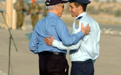 Asaf Ramon, left, with Presdient Shimon Peres upon his graduation at Hatzerim air force base in June 2009, several months before he was killed. (photo credit: Dudu Greenspan/Flash90)