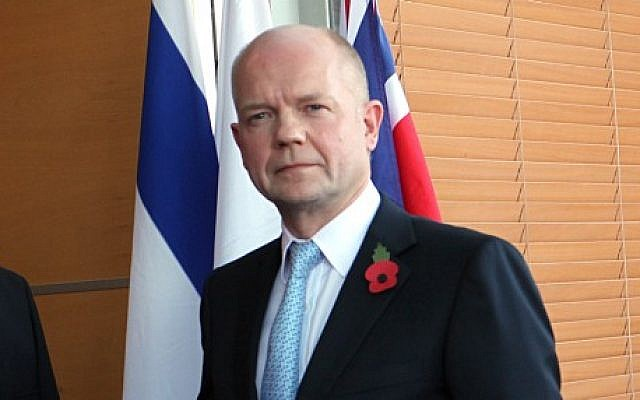 British Foreign Secretary William Hague in Jerusalem, November 2010 (photo credit: Yossi Zamir/Flash 90)