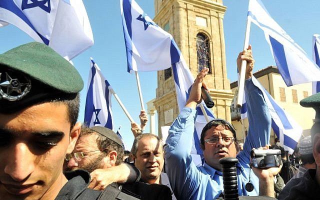 Right-wing protesters, including Itamar Ben Gvir (in blue), march through Jaffa on March 2, 2011. (photo credit: Yossi Zeliger/Flash90)