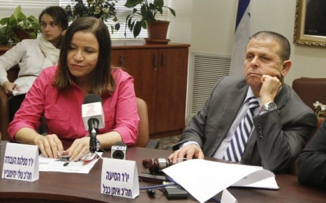 Labor Party leader Shelly Yachimovich and fellow party member Eitan Cabel attend a meeting at the Knesset in 2013. (Miriam Alster/Flash90)
