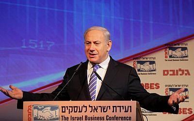 Prime Minister Binyamin Netanyahu speaks at a recent Israeli Business Conference (Photo credit: Marc Israel Sellem/POOL/FLASH90)