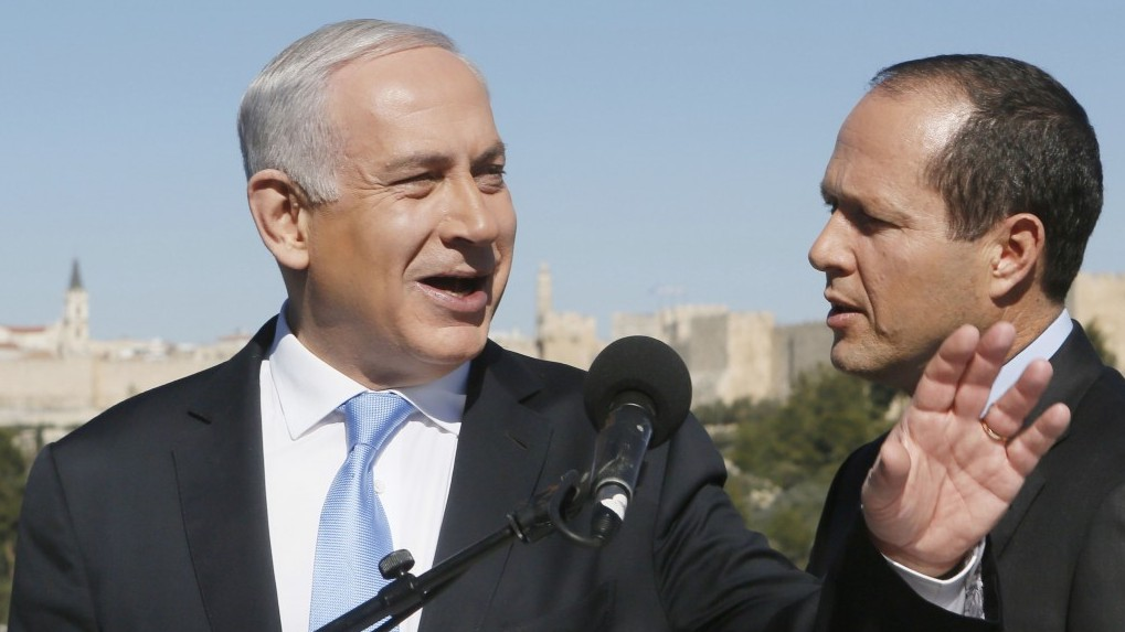 Backdropped by Jerusalem's Old City Walls, Prime Minister Benjamin Netanyahu holds a press conference with Mayor Nir Barkat following Barkat's endorsement of him, a day before the general elections. January 21, 2013. (Photo credit: Miriam Alster/FLASH90)