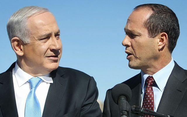 Prime Minister Benjamin Netanyahu (left) and Jerusalem mayor Nir Barkat on January 21, 2013. (photo credit: Miriam Alster/Flash90)