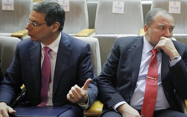 Danny Ayalon and Avigdor Liberman, at a Knesset event in February 2012 (photo credit: Miriam Alster/FLASH90)