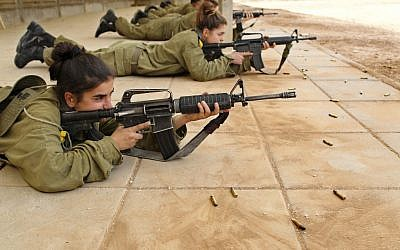 Young Israeli soldiers at the shooting range, 2011 (photocredit: Nati Shohat/Flash90)