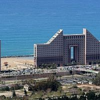 View of the Leonardo hotel on the beachside of Haifa (Moshe Shai/FLASH90)
