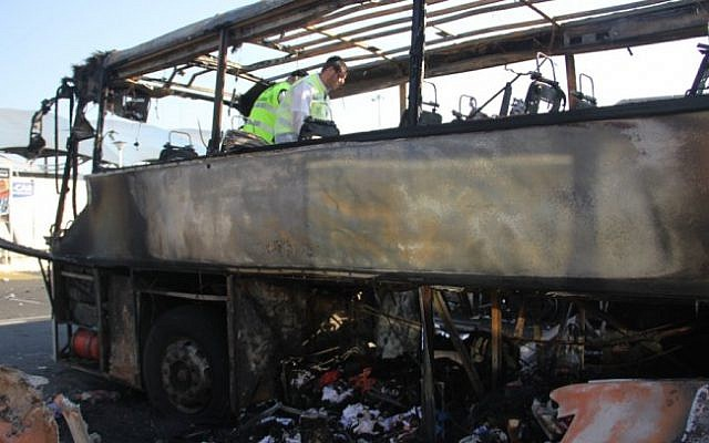 The bombed Israeli tour bus in Burgas, Bulgaria, July 2012 (photo credit: Dano Monkotovic/Flash90)