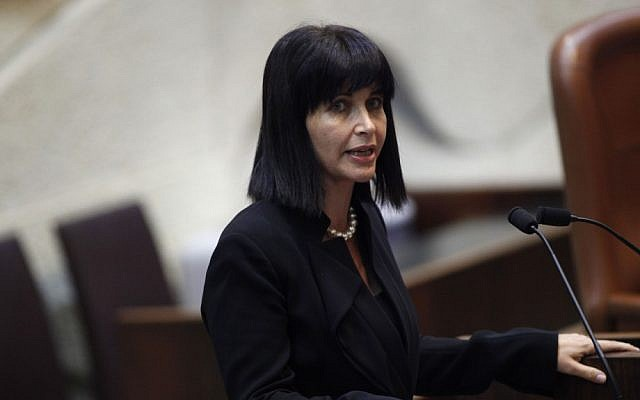 Einat Wilf addresses the Knesset, October 15, 2012. (photo credit: Miriam Alster/Flash90)