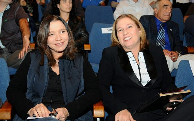 Labor Party leader Shelly Yachimovich (left) with Hatnua head Tzipi Livni, November 2012. Rarities at the helm. (photo credit: Yossi Zeliger/Flash90)