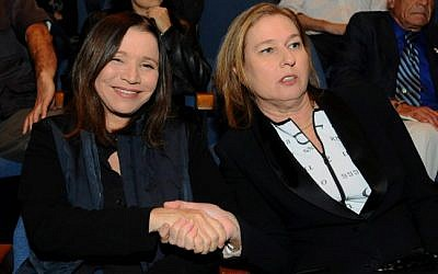 Hatnua's Tzipi Livni shakes hands with Labor Party leader Shelly Yachimovich in November 2012 (photo credit: Yossi Zeliger/Flash90)