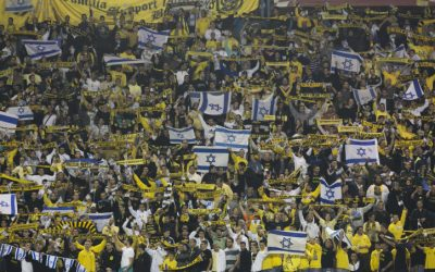 Beitar Jerusalem fans at Teddy Stadium in Jerusalem in 2013. (Yonatan Sindel/Flash90)
