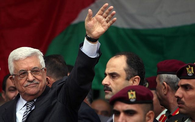Palestinian President Mahmoud Abbas gestures as he speaks during a rally supporting the Palestinian UN bid for observer state status, in the West Bank city of Ramallah, Nov. 25, 2012 (photo credit: Issam Rimawi/Flash90)