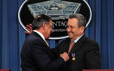 US Secretary of Defense Leon E. Panetta  and Defense Minister Ehud Barak at the Pentagon, November, 2012, (photo credit: Ariel Hermoni/Ministry of Defence/FLASH90)