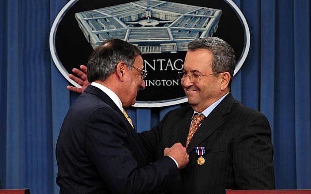 US Secretary of Defense Leon E. Panetta  and Defense Minister Ehud Barak at the Pentagon, November, 2012, (photo credit: Ariel Hermoni/Ministry of Defence/FLASH90)