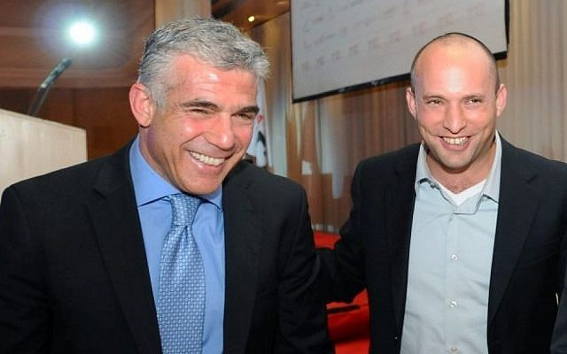 Yesh Atid leader Yair Lapid (left) and Jewish Home leader Naftali Bennett at a conference in Ramat Gan, December 17, 2012 (photo credit: Yossi Zeliger/Flash90)