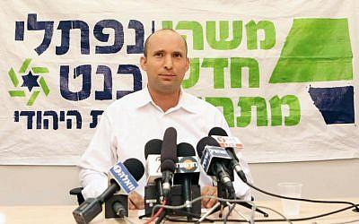 Naftali Bennett, Habayit Hayehudi party leader speaks at a press conference December 22, 2012. (photo credit: Yehoshua Yosef/Flash90)