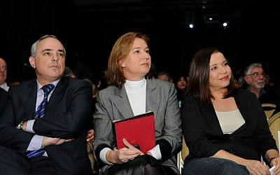 Shelly Yachimovich, head of the Israel Labor party (r), Tzipi Livni, leader of the newly formed Israeli Hatnua party and Israel's Finance Minister Yuval Steinitz listen to a lecture during an economic conference held in Tel Aviv December 25, 2012 (photo credit: Yossi Zeliger/Flash90)