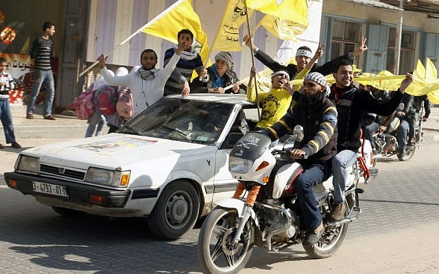 Palestinians celebrate Fatah's 48th anniversary in Rafah, the Gaza Strip, December 31, 2012 (photo credit: Abed Rahim Khatib/Flash90)