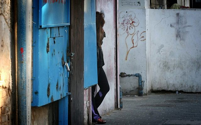 A prostitute on a south Tel Aviv street, January 1, 2013 (photo credit: Flash90)