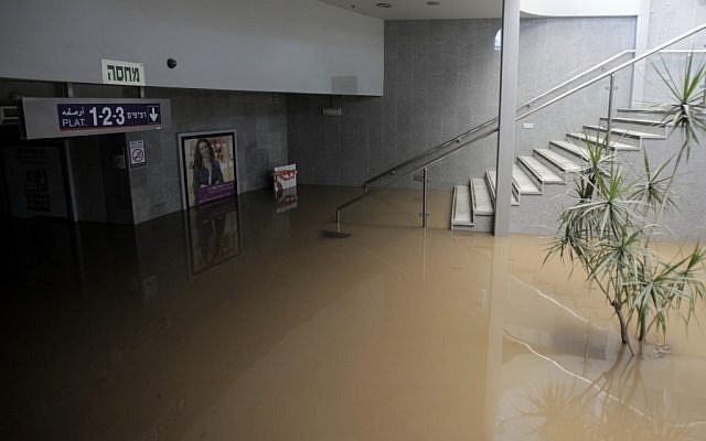 The Herzliya train station remained closed on Monday morning due to heavy flooding (photo credit: Flash90)