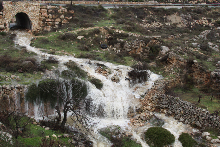 Swirling water flows during flood at a spring near Hapirim River in Gush Etzion, located in the Judean Hills outside Jerusalem, Wednesday (photo credit: Gershon Elinson/Flash90)