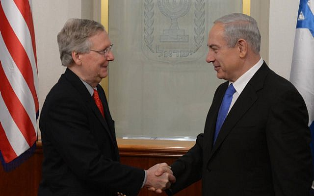 Prime Minister Benjamin Netanyahu meets with US Senator Mitch McConnell at Netanyahu's office in Jerusalem on January 11. (photo credit: Amos Ben Gershom/GPO/Flash90)