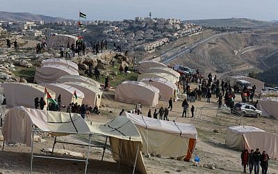 The Bab a-Shams tent city, in the E1 parcel east of Jerusalem (photo credit: Flash90)