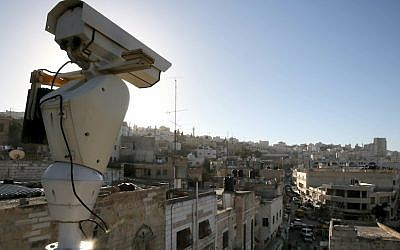 A security camera overlooking a street in Hebron (Photo credit: Nati Shohat/ Flash90)