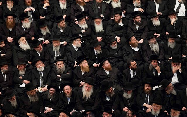 Rabbis and supporters of the ultra-Orthodox United Torah Judaism party during a gathering, January, 2013. (photo credit: Yonatan Sindel/Flash90)