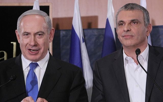 Prime Minister Benjamin Netanyahu at a press conference with Moshe Kahlon in January 2013 (photo credit: Miriam Alster/Flash90)