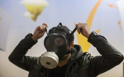 The recent tension along the northern border has caused a spike in demand for gas masks. (photo credit: Yonatan Sindel/Flash90)
