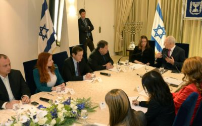 Members of the Labor Party met with Shimon Peres on Thursday (photo credit:  Mark Nayman/GPO/Flash90)